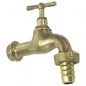 Curved Tap Polished Brass With Connector 3/4""