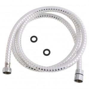 Pvc White/Silver Adjustable Shower Flex 2.0 meters