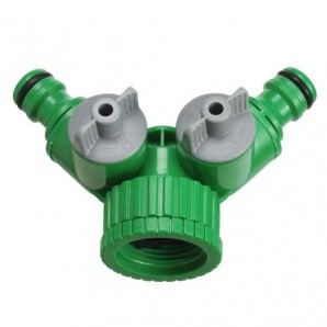 3/4 - 1? Female Plastic Hose Adapter with 2 outlets Blister Pack
