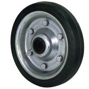 Industrial Black Rubber Wheel Without Axle 200 mm.