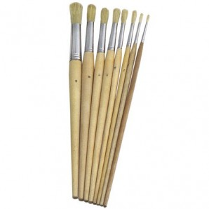 Brico Round White Bristled Paintbrush No. 9