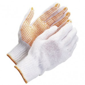 Wolfpack Cotton Gloves with Yellow PVC Fingertips 10?