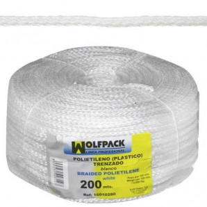 White Plastic Braided Cord (Roll 200 m.)