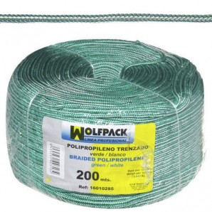 Polypropylene Braided Cord White / Green (200m. Roll)