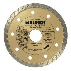 Disque diamant continu Turbo 115 mm.