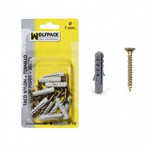 Nylon Wall Plug Blister Pack+Self tapping screw 7 mm. (10 pieces)