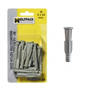 Multi-action Wall Plug Blister Pack MN 6x45 mm. (25 pieces)