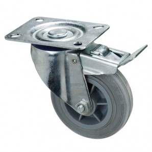 Grey Rubber Industrial Wheel with Plate and brake 100 mm.