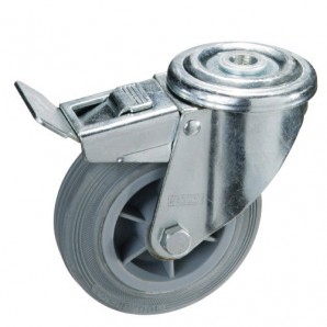 Grey Rubber Industrial Wheel With Through Hole and brake 100 mm.