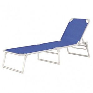 Chaise-longue de plage en aluminium Lit Thera, bleue