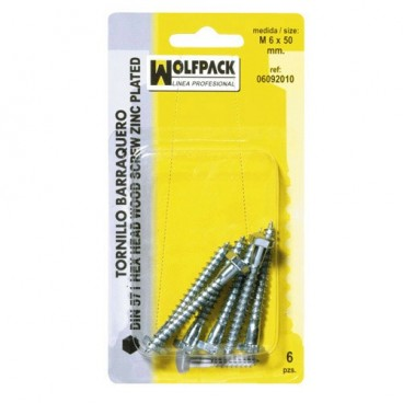 Blister Pack of Bolt Head Self-Tapping Screws Din571 6x50 mm. (6 pieces)