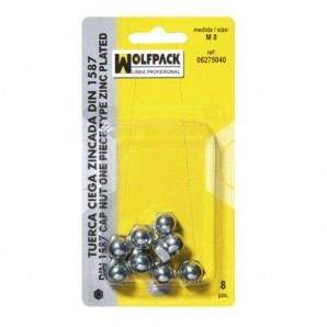 Blister Pack of Cap Nuts Din1587 M08 (8 Pieces)