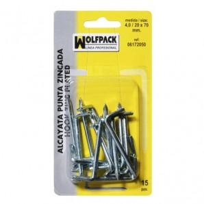 Blister Pack Galvanised Tip Hook 4.0 / 20x70 mm. (15 pieces)
