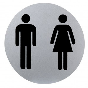 Aluminium Male/Female Bathroom Sign Ø12 cm.