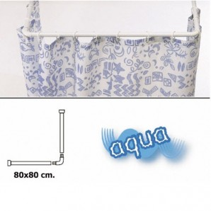 Universal Aluminium White Extendable Rail for Shower Curtain 80 x 80 cm.