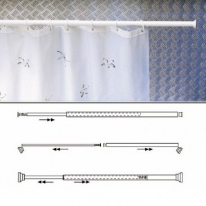 Aluminium White Extendable Rail for Shower Curtain 125 to 220 cm.