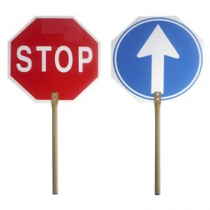 Works Stop-Go Pole Sign 30x30 cm.
