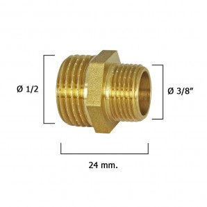 """Connection Nipple Reducer Polished 3/8"""" To 1/2"""""""