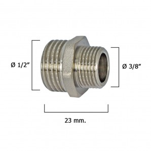 "Chromed Reducer Nipple 3/8"" A 1/2"""