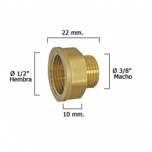 Hexagonal Extension Reducer Polished 3/8 Male - 1/2 female x M10