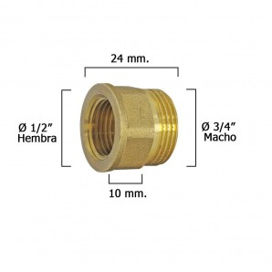 Hexagonal Extension Reducer Polished 3/4 Male - 1/2 female x M10