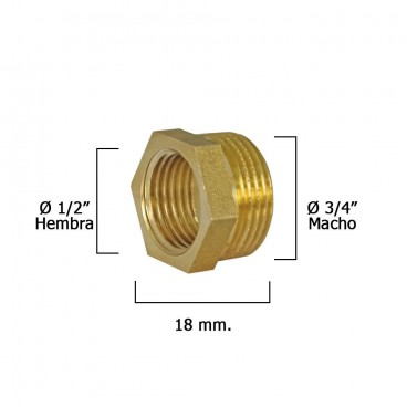 Hexagonal Reducer Polished 3/4 Male x 1/2 female