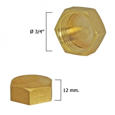 Blind Plug Female Brass 3/4""