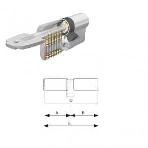 Cilindro Tesa T60 sicurezza / 30x40 Nickel