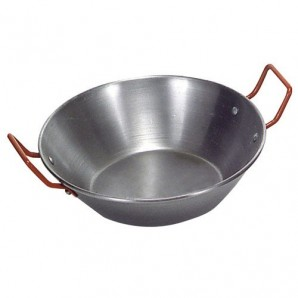 38-cm Polished Iron Pan With Handles.