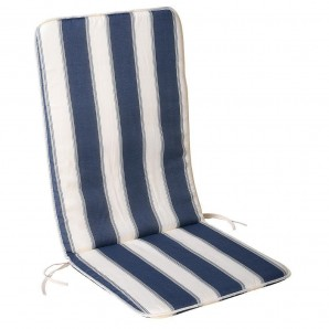 Blue/White Reclining Chair Cushion 110x48x2.5 cm.