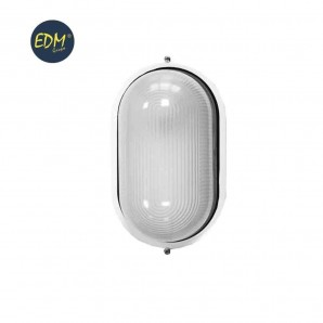 Aplique aluminio ip54 oval blanco E27 100w mod. cambrils