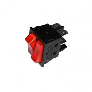Interruptor doble luminoso empotrado 16 a 30x22 retractilado