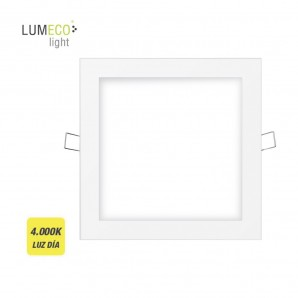 Downlight led cuadrado 20w 1500lm 22,5cm marco blanco 4.000k  lumeco