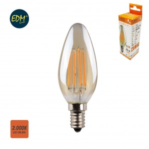 LED light bulbs Vintage and Deco - Bombilla vela filamento led cristal vintage 4,5w E14 350lm 2.000k EDM