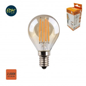 LED light bulbs Vintage and Deco - Bombilla esferica filamento led cristal vintage 4,5w E14 350lm 2.000k EDM