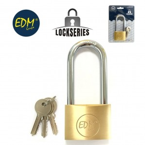 Brass padlock longbow blister 50x80mm