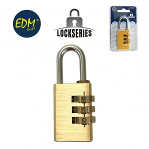Brass padlock combination blister 27,5mm