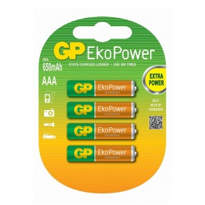 Pila recargable gp ekopower aaa (blister 4un)