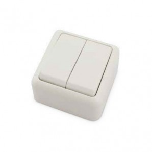 Doble interruptor superficie Blanco 60x60x30mm 10A 250V GSC 0201027