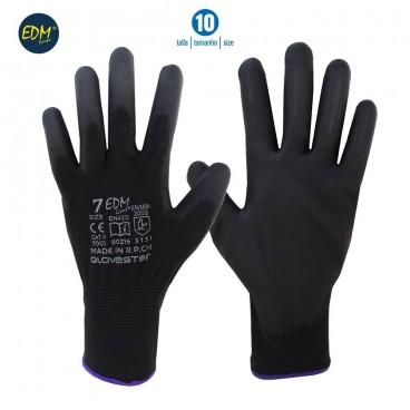 Seamless polyester glove with polyurethane coating size 10