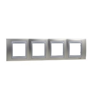 Frame Top 4 elements of lead, Nickel Matt SCHNEIDER U66.008.039