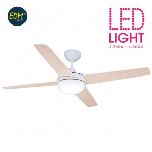 Fan led ceiling model chukotka ø130cm white wood 2200 lumens edm EDM 33809