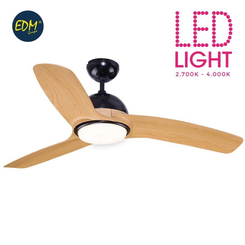 Fan led ceiling model laptev ø130cm black wood 2200 lumens edm EDM 33810