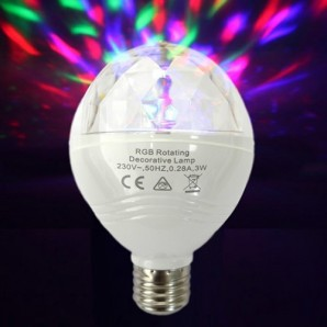 Led bulbs colors - Bombilla de led MULTICOLOR GIRATORIA 3W efecto disco EDM 97960