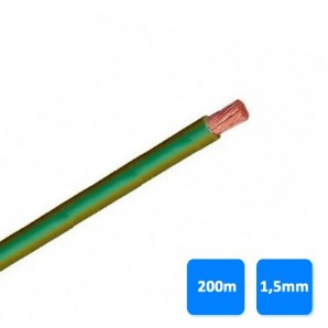 Electric Cable - Roll of wire unipolar 1.5 mm green and yellow (200 meters) H07V-K 750V