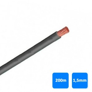 Electric Cable - Roll of wire unipolar 1.5 mm grey (200 meters) H07V-K 750V