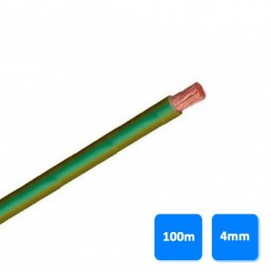 Cable-free electrical halogen - Roll of cable halogen-free 4mm yellow and green (100 meters) H07Z1-K AS 750V