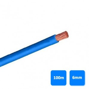 Cable-free electrical halogen - Roll of cable halogen-free 6mm blue (100 meters) H07Z1-K AS 750V
