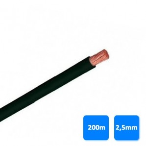 Roll of cable (unipolar) 2.5 mm black (200 m) H07V-K 750V