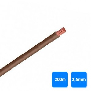 Roll of cable unipolar 2.5 mm brown (200m) H07V-K 750V